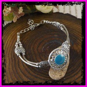 🆕 Sterling Silver Polished Turquoise Bracelet